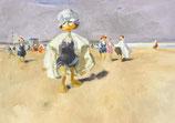 """Postkarte """"Ente am Strand von Viareggio"""""""