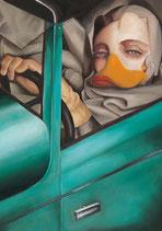 "Postkarte ""Tamara im grünen Bugatti"""