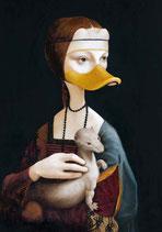 """Postkarte """" Ente mit Frettchen"""""""