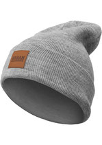 Leatherpatch Long Beanie grey one size