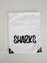 RUCKSACKBEUTEL WEISS SHARKS