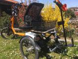 Leichtgewicht-Falt-Rollator mit schräger Aufnahme (einstellbar) passend für Dreirad-Fahrrad komplett mit Adapter