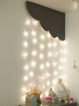 NUBES DE MADERA CON LUCES LED