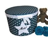 personalisierte Erinnerungsbox Michel, petrolfarbene Babybox mit Filzstern, Namensbox zur Geburt