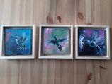 """3 Mini Gemälde """"Kolibris"""""""