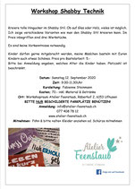 Workshop Shabby Technik 12. September 2020 / 9.00Uhr