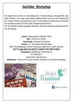 Schilder Workshop 8. Oktober 2020 / 14.00Uhr