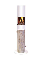 The Flame - Round Log - weiss
