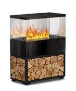 Case Effektfeuer - Stahl schwarz mit Echtholzeinlage