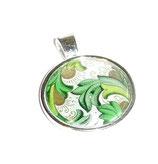 Anhänger Cabochon,Florentiner Papier Ornamente grün gold 2