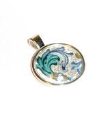 Anhänger Cabochon, Florentiner Papier  Ornamente blau gold 1