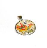 Anhänger Cabochon,Florentiner Papier Ornamente Vögel 1