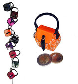 Kleine Mini Tasche als Anhänger / Schlüsselanhänger  orange