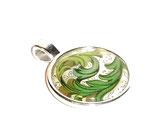 Anhänger Cabochon,Florentiner Papier Ornamente grün gold 1