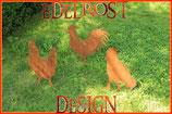 Edelrost Hühnerfamilie