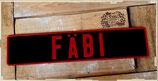 Namensschild Schwarz, Schrift Rot