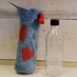 Flaschenwärmer gefilzt mit Glasflasche 0,4l