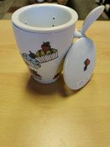 Tee-Tasse mit Sieb handbemalt