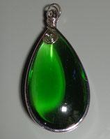 #пк1089 Подвеска зеленая капля стекло в оправе
