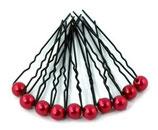 Haarnadel schwarz mit kleiner Perle rot
