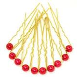 Haarnadel gold mit kleiner Perle rot