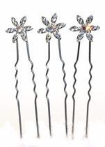 Haarnadel silber mit Swarovski-Elements Blüte kristall
