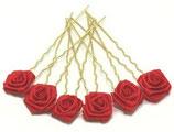 Haarnadel gold mit Rose rot
