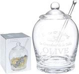 Olivenglas mit Glas-Löffel und Glas-Deckel