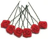 Haarnadel schwarz mit Rose rot