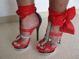 Knöchel-High Heels rot