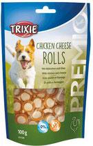 TRIXIE PREMIO Chicken Cheese Rolls, 100g, mit Huhn + Käse (100g / 2,49€)