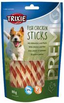 TRIXIE PREMIO Fish Chicken Sticks, 80g, mit Hühnchen und Fisch (100g / 2,49€)