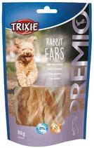 TRIXIE PREMIO Rabbit Ears, 80g, Kaninchenohren mit Huhn gefüllt  (100g / 3,11€)