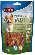 TRIXIE PREMIO Fish Chicken Wraps, 80g, mit Hühnchen und Fisch (100g / 3,74€)