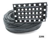 Fahrradreifen-Gürtel mit Strassbuckle in schwarz.