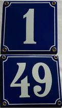 Hausnummern 1-49 blau-weiß