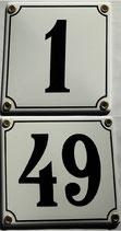 Hausnummern 1-49 weiß-schwarz