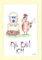"Glückwunschkarte Geburt A5 mit Kuvert ""Baby frisch geschlüpft"""