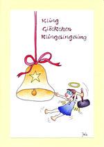 """Weihnachtskarte A5 mit Kuvert """"Engel Glocke"""""""