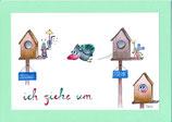 "Umzugskarte A5 mit Kuvert ""Umzugvogel"""