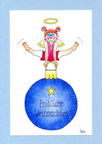 """Weihnachtskarte A5 mit Kuvert """"Engel Turnerin"""""""
