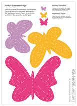 Bastelbogen Schmetterlinge (pink)