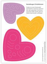 Bastelbogen Prickelherzen (pink)