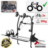 POLARIS 2 von MENABO - FATBike Heckfahrradträger aus Stahl mit Aluminium für den Transport von 2 Fahrrädern zur Befestigung an der Heckklappe - auch für eBike
