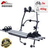 Stand Up 3 (Fulcrum 3) von MENABO – leichter Heckfahrradträger mit stabilen Schienen aus Aluminium für den Transport von 3 Fahrrädern zur Befestigung an der Heckklappe