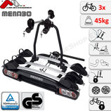 WINNY PLUS (NIGHTHAWK PLUS) von Menabo - Fahrradträger Heckträger abschließbar für 3 Räder mit Quick-Lock Fahrradheckträger