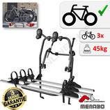 POLARIS 3 von MENABO - FATBike Heckfahrradträger aus Stahl mit Aluminium für den Transport von 3 Fahrrädern zur Befestigung an der Heckklappe - auch für eBike