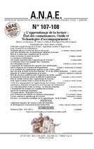 ANAE N° 107/108 - L'apprentissage de la lecture : État des connaissances, Outils et Technologies d'accompagnement