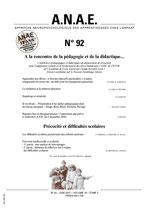 ANAE N° 92 - A la recherche de la pédagogie et de la didactique... / Précocité et difficultés scolaires