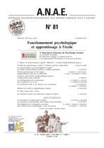 N° 81 - Fonctionnement psychologique et apprentissage à l'école